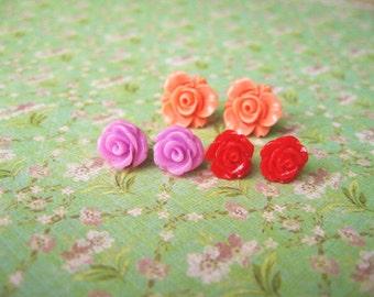 Orange Purple Red Resin Flower Earrings, Resin Earrings, Resin Cabochons, Cabochons Earrings, Flower Earrings, Rose Earrings - 3 Pairs
