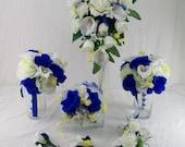 "Custom Order 50% Deposit For ""kruegerbrit88"" Horizon Royal Blue Cascade Bouquet Made To Order 8 Piece Flower Package Calla lilies Roses"