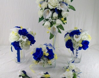 Horizon Blue Royal Blue and Yellow Bridal Bouquets Cascade Bouquet Made To Order 7 Piece Flower Package Calla lilies and Roses