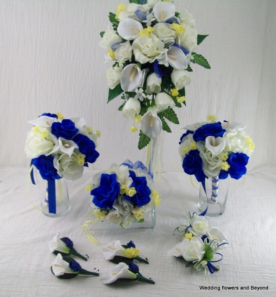 BLue AND YeLLoW WeDDiNG FLoWeRS MaDe To By VanCaronCollection