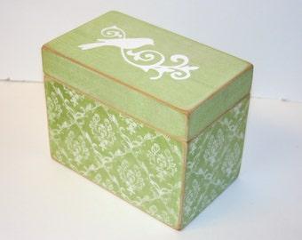 Green and White Recipe Box, Green Damask Recipe Box, 4x6 Recipe Box, Bird Box, Tree Box, Handmade 4 x 6 Wooden Recipe Box, Keepsake Box