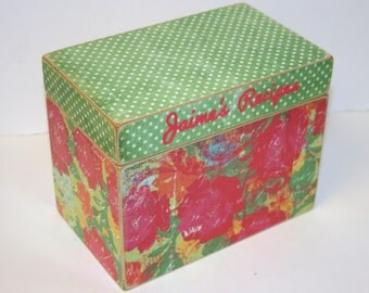 Recipe Box, Pink and Green Recipe Box, 4x6 Box, Floral and Polka Dot Recipe Box, Handmade Wooden Recipe Box, Address File, Keepsake Box
