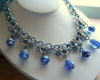 Blue and Silver tone Gothic Lace Chainmaille Necklace With Wire wrapped glass accents