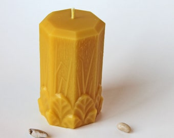 Garden Leaves Pillar Candle, Pure Beeswax Pillar, Pillar Candle, Beeswax Candle