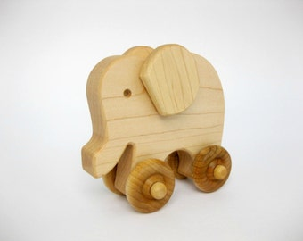 Wooden Toy Elephant Push Toy, natural wood toy