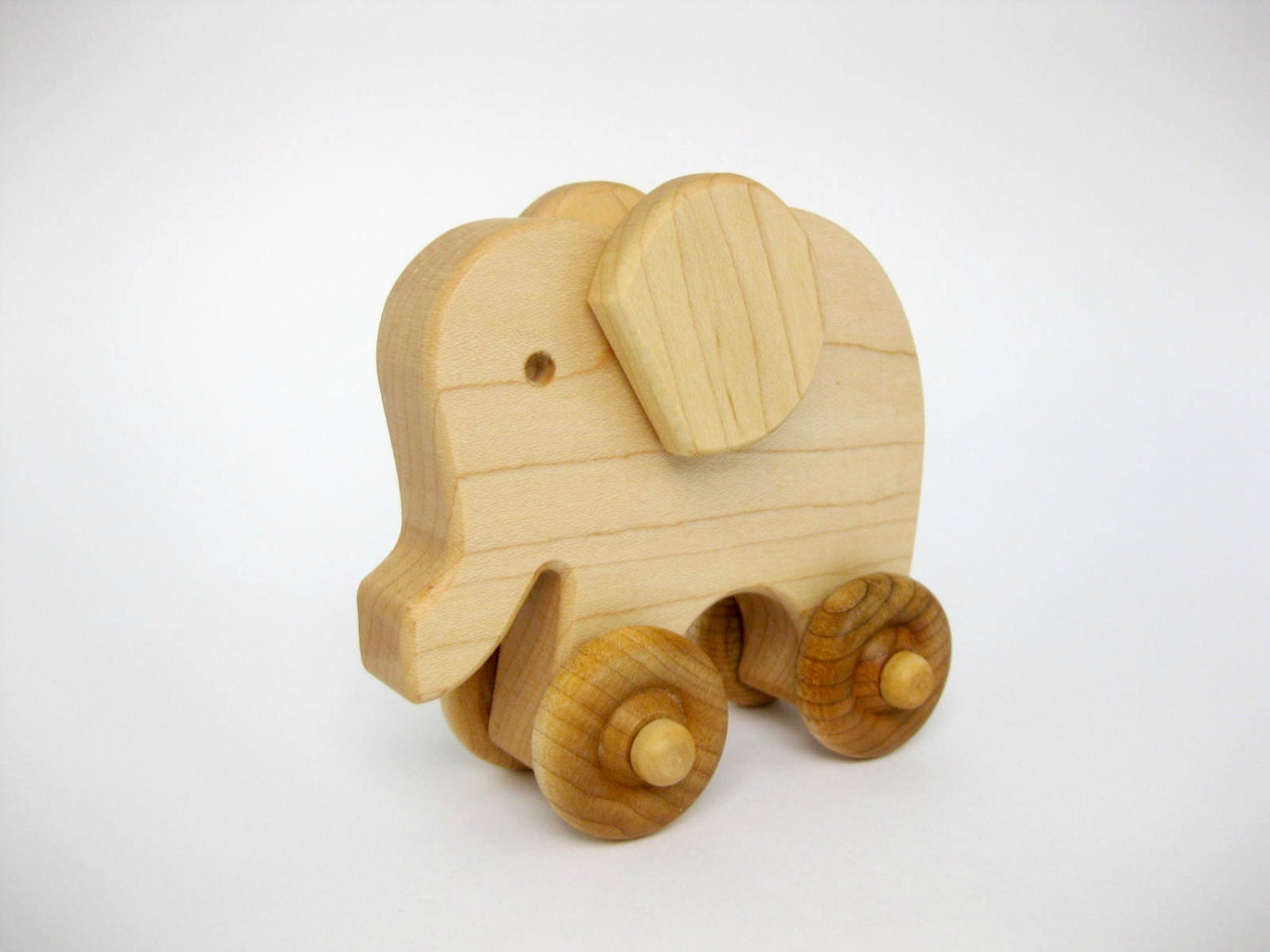 Wooden Toy Elephant Push Toy wood toddler toy by GreenBeanToys