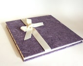 Lavender Wedding Guest Book - Coptic Stitch Binding, Purple Guest Book, Ribbon - Made to Order