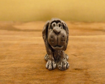 Vintage Pewter Mini Sitting Dog Figurine