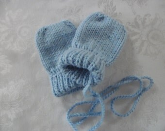 Baby Mittens Thumbless Hand Knit in Sizes Newborn to 12 to 18 Months