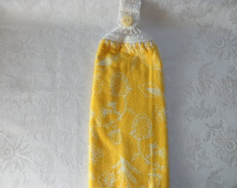 Hanging Double Kitchen Towel Yellow Towel with Outline of Flowers in White