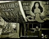 Carnival Freak Show Photograph Snake Girl Freak Dark Circus Fun Black White Sepia Wall Art 12x8