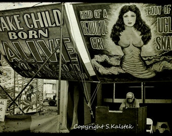 Carnival Freak Show Photograph Snake Girl Freak Dark Circus Fun Black White Sepia Wall Art 12x8