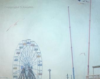 Ferris Wheel Photograph Beach Town Carnival Misty Carnival Rides Seagulls Soft Blue Wall Art 8x8