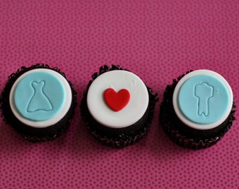 Fondant Wedding Bride, Groom and Heart Cupcake Toppers for Decorating Engagement or Wedding Cupcakes