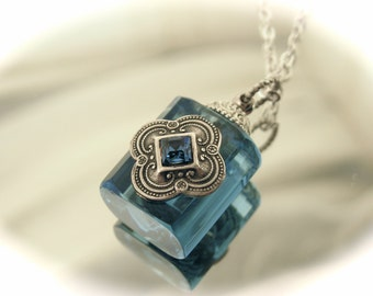 Blue Essential Oil / Perfume Bottle Necklace