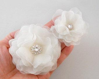 Swarovski Wedding Hair Flower, Bridal Hair Flower, Bridal Hairpiece, Bridal Hair Clip, Ivory Wedding Hair Accessory, Silk, Flower, Crystals