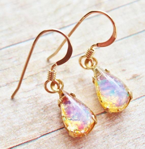 Vintage Petite Glass Opal Earrings - 14K Gold Filled - Vintage Cherry Brand Fire Opal, Birthstone Jewlery