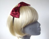 Burgundy Headband- Wine-Red Bow Headband
