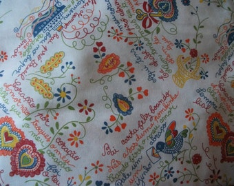 "LARGE COTTON TABLECLOTH, hearts, romance, ""Namorados"", weddings, Portugal, home decor, 300 x 150 cm"
