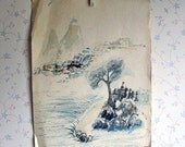 Vintage Original Chinese Landscape Watercolor Signed Painting