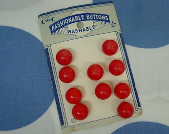 Vintage Red Round Ball Buttons (10) on Original LeChic Card c.1930's