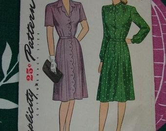 Vintage Pattern 1945 Simplicity No.1374 Dress, Size Bust 34