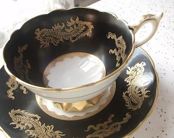Antique Royal Stafford gold dragons tea cup set, black tea cup and saucer, English tea cup set, black and gold bone china tea set, black cup