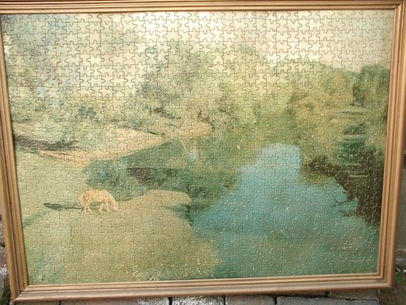 Antique Landscape art print, framed puzzle, western art decor, horse art framed, antique puzzle, game room bar decor wedding gift