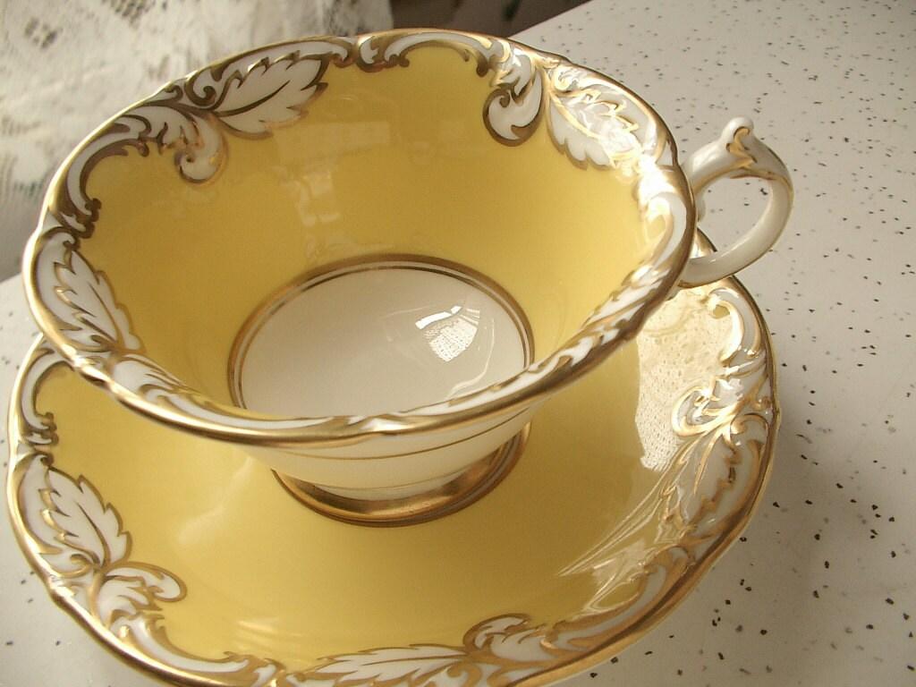 rare yellow tea cup and saucer set vintage by shoponsherman. Black Bedroom Furniture Sets. Home Design Ideas