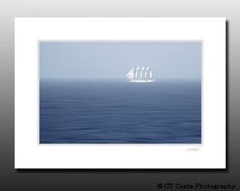 Boat Sailing photo, Nautical Art Print, Ship in the Fog, Signed Matted Print, Ready for framing, blue
