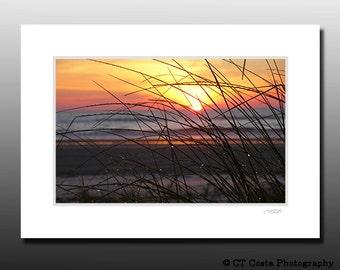 Sunrise Beach Print, Seascape Photography, Matted Print Ready for framing, orange
