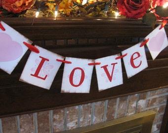 Valentine Banner Wedding Garland Love Sign with Red Hearts Great Photo Prop Handmade Valentine Decoration (V26)