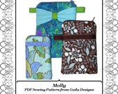 """PDF Sewing Pattern, iPhone 5, iPhone 4s, iPhone 4, and other gadget case with zipper, 3 sizes, 3 style variations """"Molly"""""""