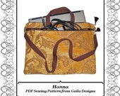 "PDF Sewing Pattern iPad Pro, Laptop, notebook, case cover with pocket, zipper, handles and shoulder strap fully lined ""Hanna"""