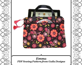 "iPad 1, 2, 3or 4, iPad Air case cover PDF sewing pattern tablet Kindle HD 10"" padded handles zipper pocket ""Emma"""