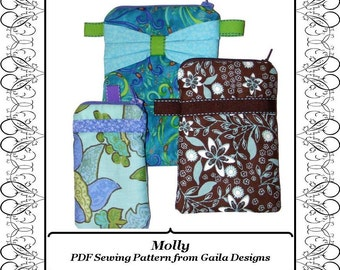 """PDF Sewing Pattern, iPhone 4-7, iPhone 6+, 7+ and other gadget case with zipper, 3 sizes, 3 style variations """"Molly"""""""