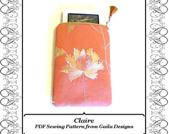 "PDF Sewing Pattern Kindle, Kindle Fire, Nook, Nook color, Sony, Kobo case cover with zipper, padding, fully lined ""Claire"""
