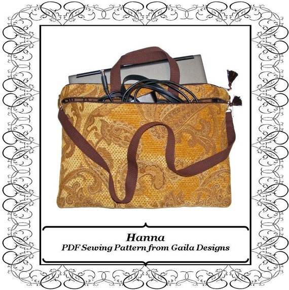 """PDF Sewing Pattern iPad Pro, Laptop, notebook, case cover with pocket, zipper, handles and shoulder strap fully lined """"Hanna"""""""