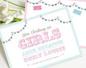 Twin Girls/ Sister Christening PRINTABLE Invitations as Jpeg or PDF