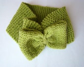 Green  Headband - Ear warmer with Bow