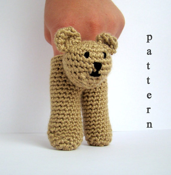 Two Finger Amigurumi Puppets Pattern 3 in 1 Bunny,Frog and Bear -  Instant Download PDF