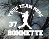 Vinyl Car Window Decal 6w x 5h - Baseball J Personalized Baseball Team Decal with Team Name and Student'sName sports