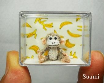 Micro Amigurumi Monkey - 1 inch White Gray Tiny Crocheted Monkeys - Made To Order