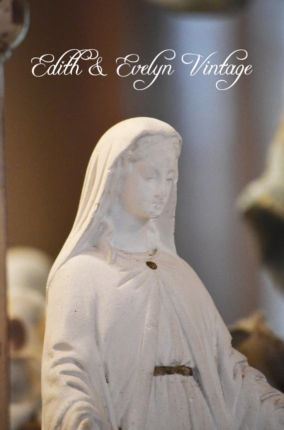 HOLD for Brendajoy: Vintage French Plaster Miraculous Mary Statue, From France, Virgin Mary, White Madonna