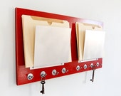 FILE OFFICE ORGANIZER with Hooks, Wall Mount. Wide Slots for Folder Storage. Perfect for office.