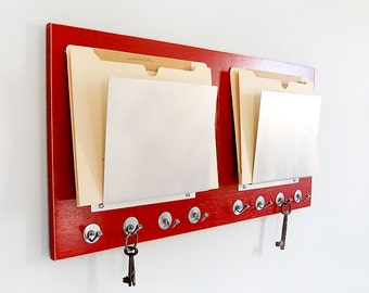 FILE ORGANIZER: Wall Mount with Key Hooks, Modern Metal Slots for Folder File Storage. Perfect for Home Office Dorm Decor.