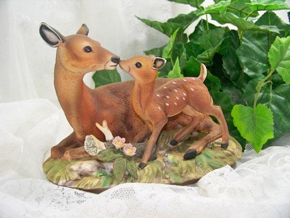 Masterpiece Porcelain Homco Figurine Doe And Fawn Home