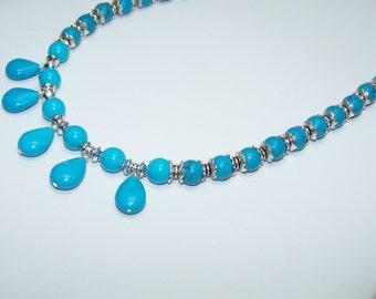 Turquoise tear drop necklace stone necklace set