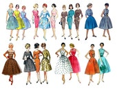 """Clear stamps large sheet (7""""x10"""") Vintage Fashion Girl Fifties FLONZ 403-131"""