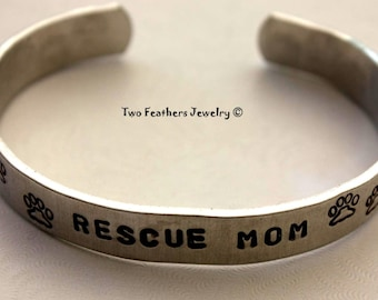 RESCUE MOM - Hand Stamped Cuff Bracelet - Paw Print Bracelet - Personalized Jewelry - Message Bracelet - Gift For Her - Animal Lover Gift